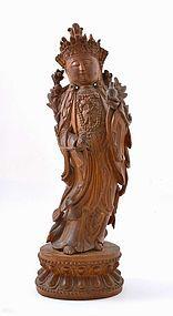 Chinese Boxwood Carved Kwan Yin Buddha Figurine