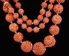 Chinese Red Coral Carved Flower Bead Necklace