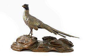Meiji Japanese Gilt Bronze Mixed Metal Pheasant Bird