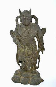 17C Chinese Gilt Lacquer Bronze Buddha Guardian