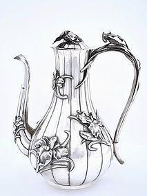 Old Japanese Silver Chocolate Teapot Iris Kurokawa