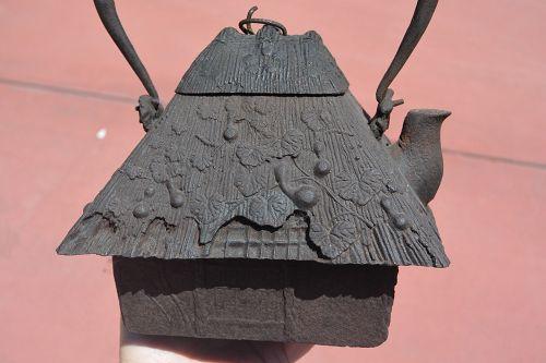 Japanese Gilt Iron Teapot Tetsubin Signed