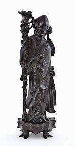 Chinese Dark Cherry Amber Carved Shoulo Figurine Figure