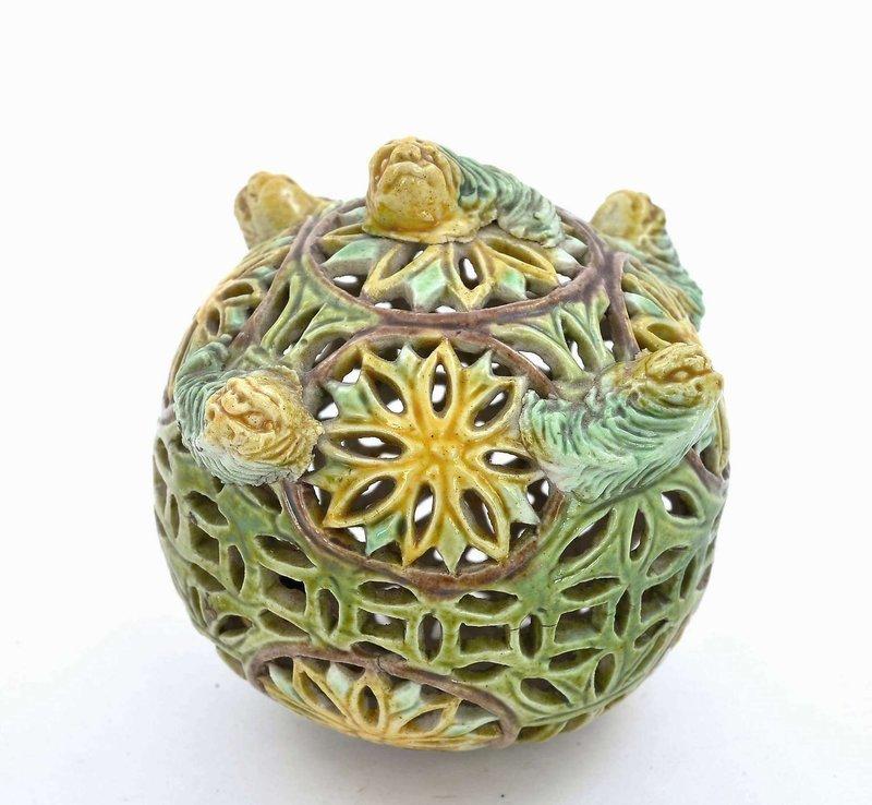 19C Chinese Sancai Porcelain Censer Incense Holder Pomander