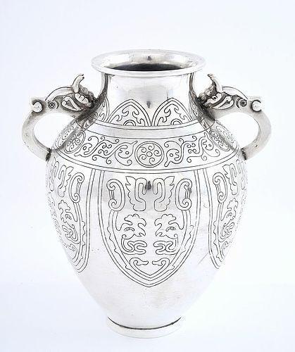 Japanese Sterling Silver Vase Geometric 2 Dragon Ears Mk