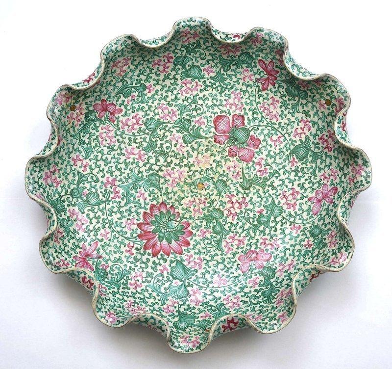 19th Century Chinese Yixing Enamel Scalloped Lotus Plate