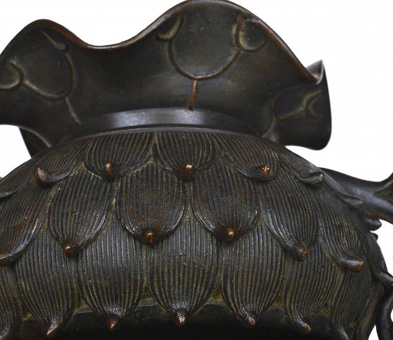 19C Chinese Bronze Lotus Flower Censer