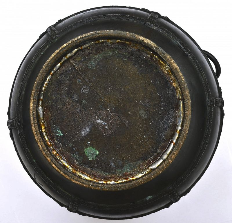19C Chinese Archaic Style Spot Gold Rope Bronze Vase