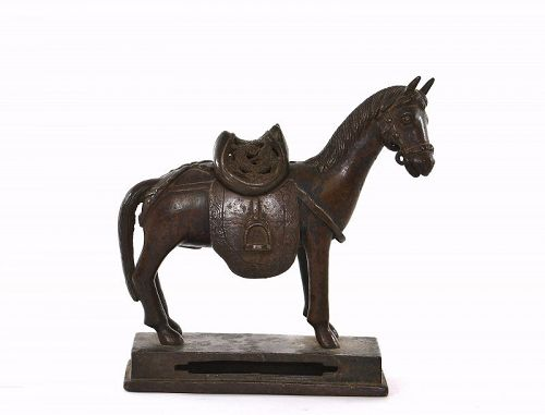 17C Chinese Bronze Standing Horse with Dragon Saddle
