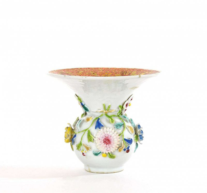 Chinese �正 Yongzheng Famiile Rose Porcelain Vase Jar Relief Flower