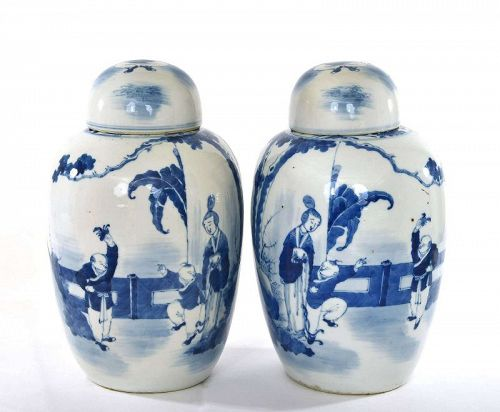 2 19C Chinese Blue & White Porcelain Cover Jar Vase Lady & Boy