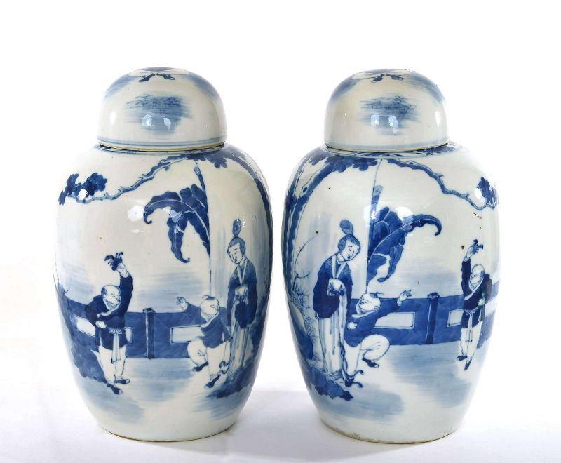 2 19C Chinese Blue & White Porcelain Cover Jar Vase Lady & Boy