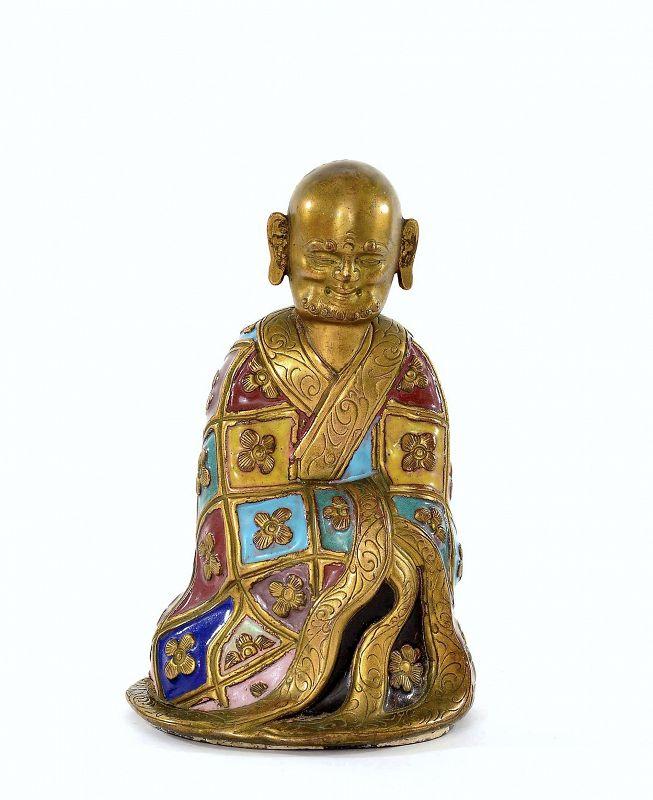 19C Chinese Gilt Enamel Champleve Cloisonne Bronze Buddha Louhan