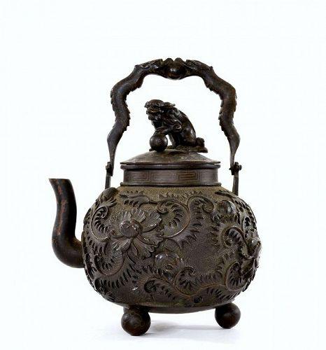 Old Japanese Silver Inlay Bronze Teapot Tetsubin Shishi