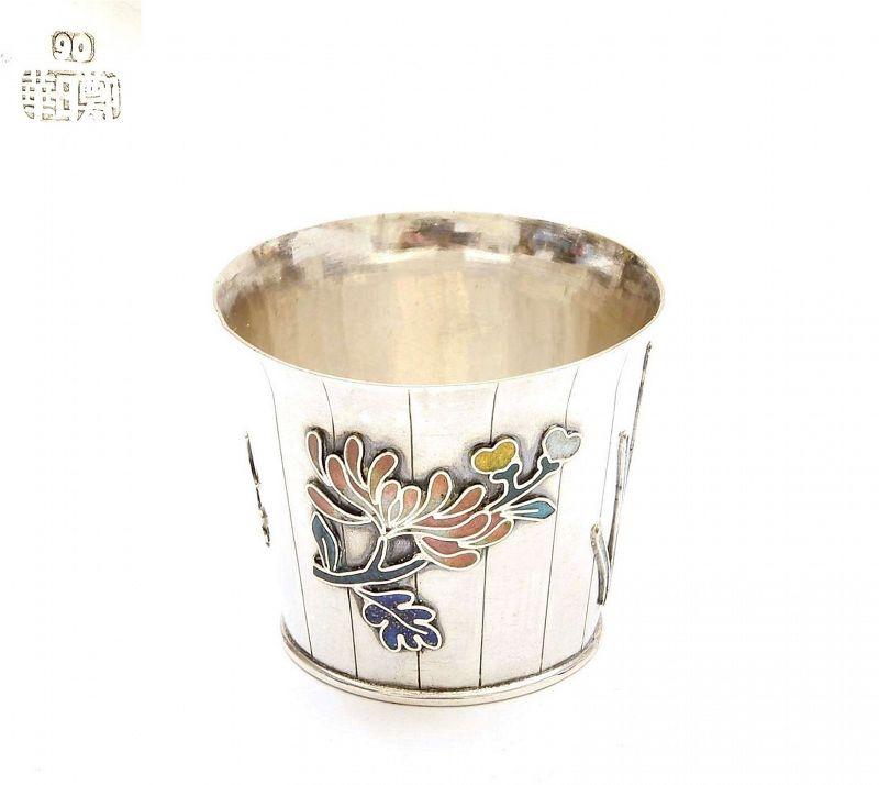1900's Chinese Silver Enamel Bucket Flower Open Salt Cellar Mk