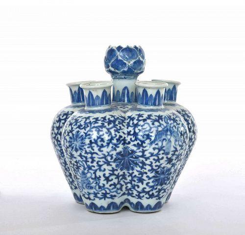 19C Chinese Blue & White Porcelain Lotus Tulip Vase