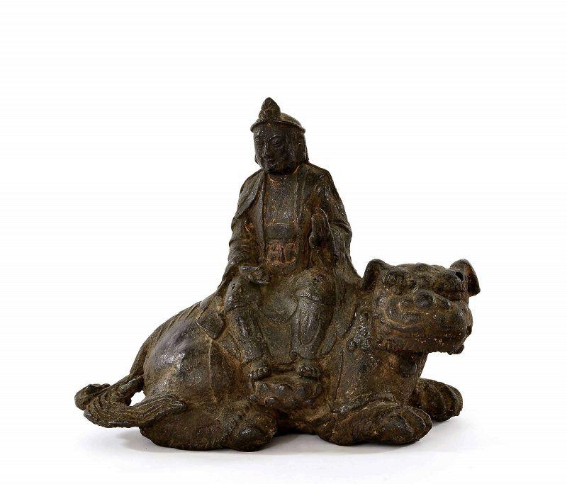 15C Chinese Gilt Lacquer Bronze Manjushri Buddha Kwan Yin on Lion