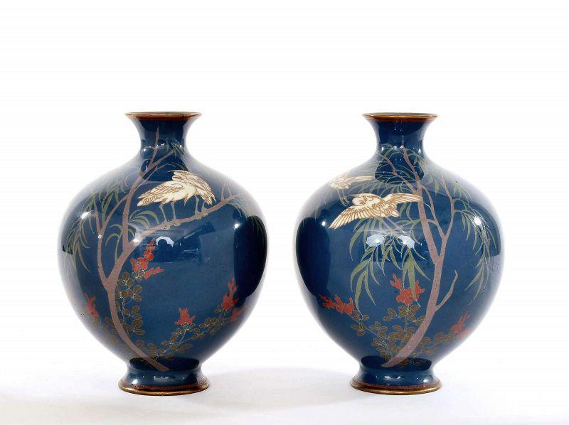 19C Japanese 2 Cloisonne Enamel Vase Crane Bird