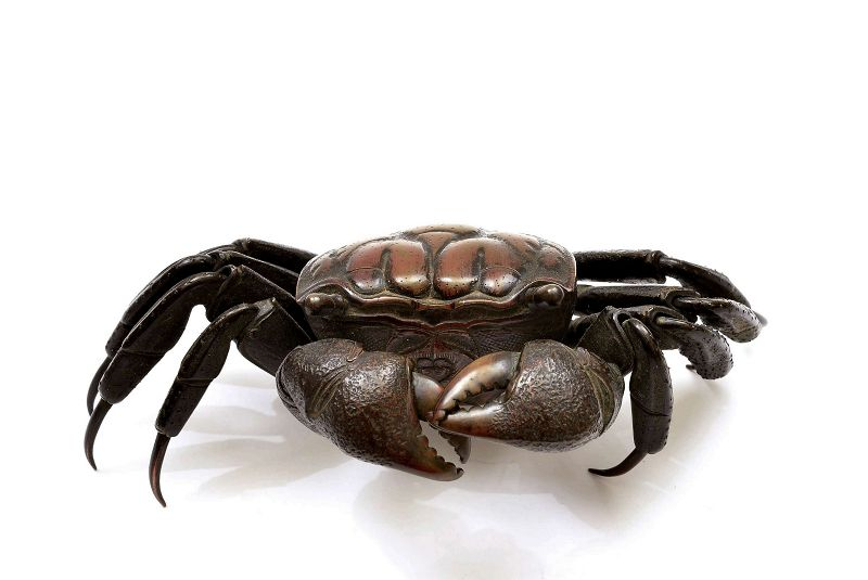 Meiji Japanese Bronze Articulated Crab Okimono