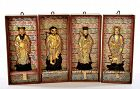 4 Old Chinese Scholar Ink Cake 8 Immortal God Figurine Box Signed