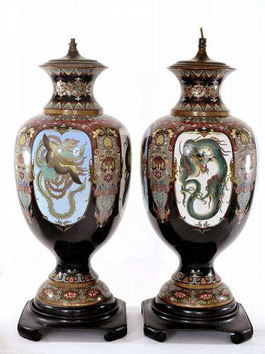 2 Meiji Japanese Cloisonne Enamel Dragon & Phoenix Lamp Vase Honda