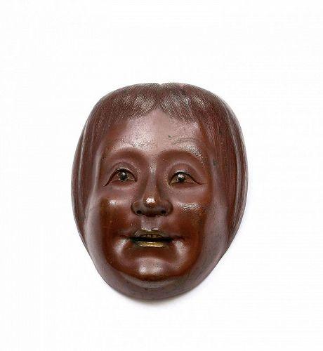 1930's Japanese Bronze Noh Mask Okimono