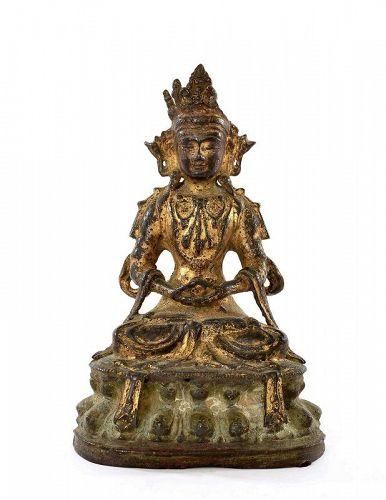 17C Chinese Gilt Lacquer Bronze Seated Buddha
