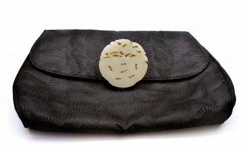19C Chinese White Jade Carved Pendant Dragonfly Gump's Purse Handbag