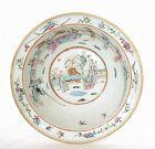 19C Chinese Famille Rose Basin Porcelain Bowl Figure Figurine