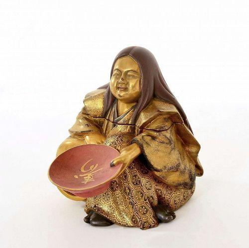 Meiji Japanese Makie Lacquer Wood Carved Samurai Figurine Box Sake Cup