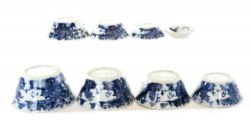 19C Chinese Set 8 Blue & White Porcelain Tea Bowl Cup
