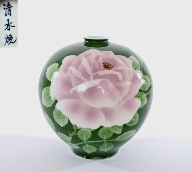 Old Japanese Kiyomizu Ware Kyoto Studio Vase Flower Marked