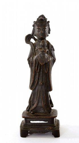 17C Chinese Ming Bronze Immortal Deity Lady Incense Burner Peach