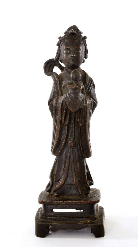 17C Chinese Ming Bronze Immortal Deity Lady Incense Burner Peach