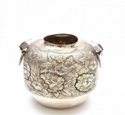 Japanese Sterling Silver Kama Furo Tea Ceremony Water Jar Butterfly