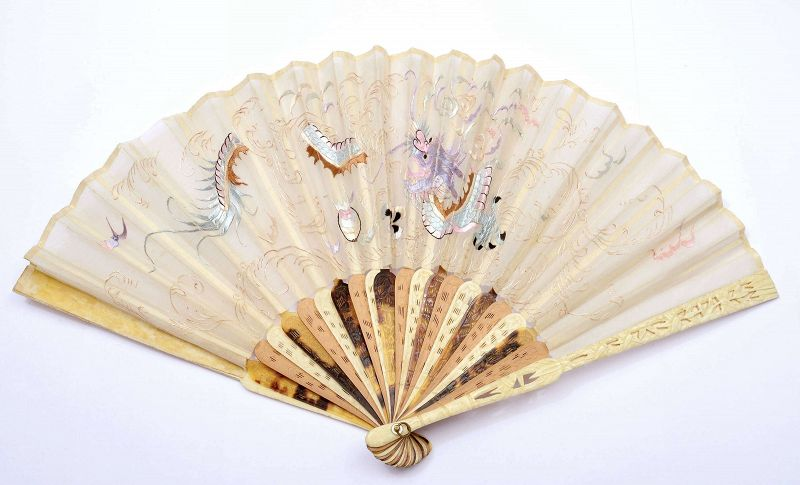 Chinese Bovine Water Buffalo Bone Carved Silk Embroidery Fan Dragon