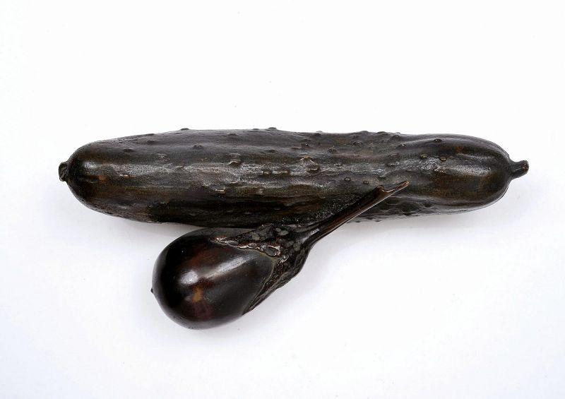 19C Japanese Bronze Cucumber Eggplant Scholar Paperweight Okimono