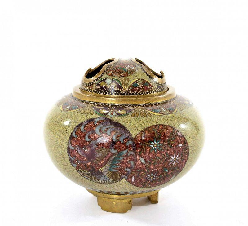 Old Japanese Cloisonne Enamel Incense Burner Censer Koro Flower