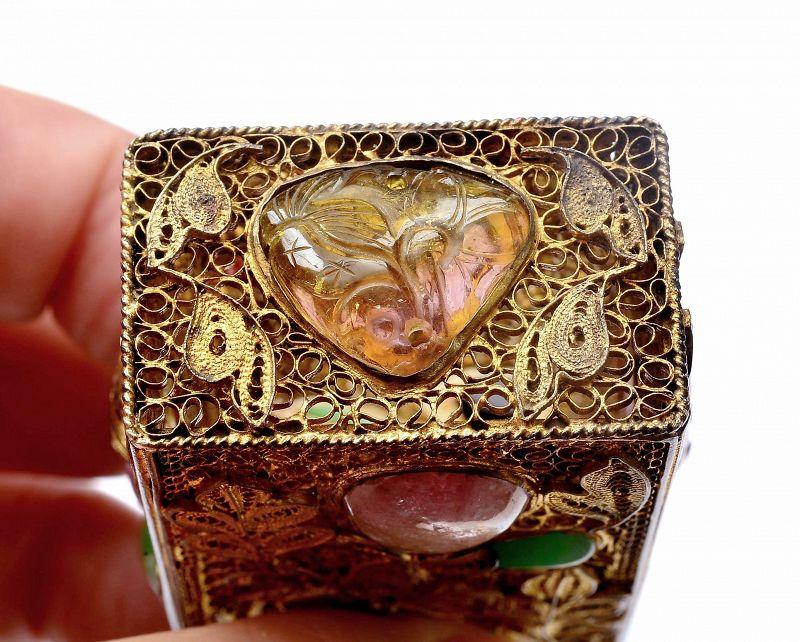 Chinese Gilt Silver Filigree Jadeite Tourmaline Bead Scholar Ink Box