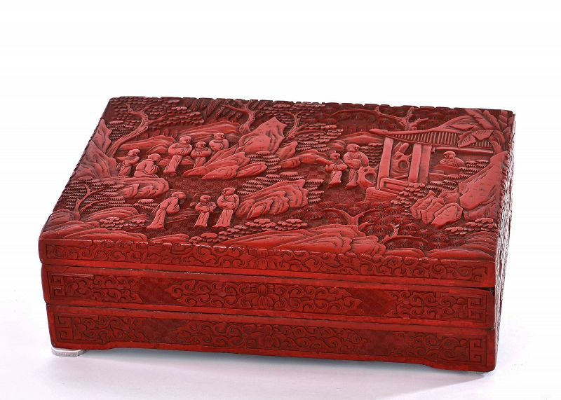 19C Chinese Cinnabar Lacquer Carved 2 Tiers Box Figure