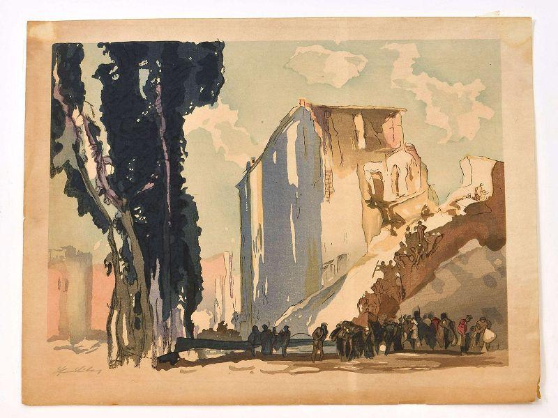 1920's Japanese Woodblock Print Yoshijiro Mokuchu Urushibara