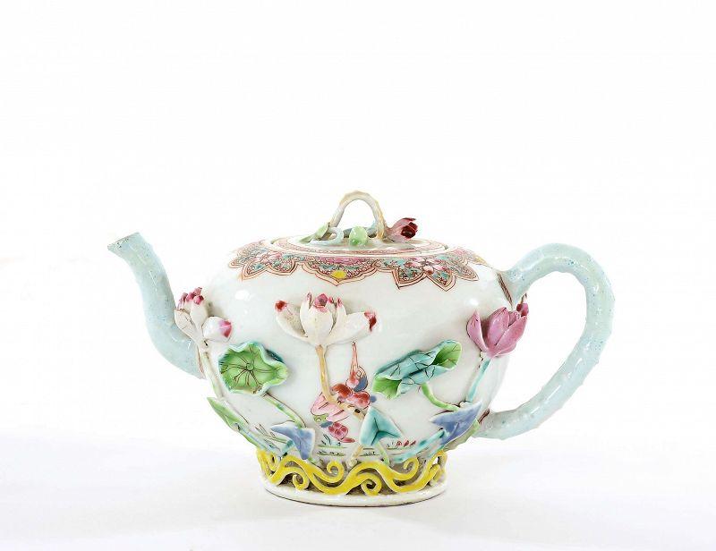 18C Chinese Kangxi Yongzheng Famille Rose Relief Lotus Flower Teapot