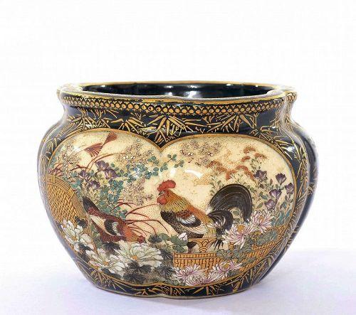 Meiji Japanese Green Satsuma Bowl Pot Chicken Group Geisha