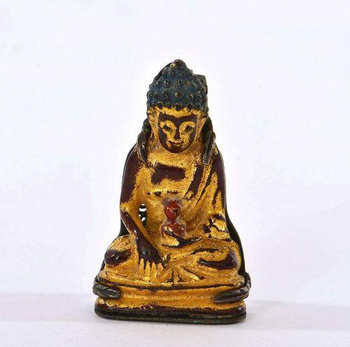 18C Chinese Gilt Lacquer Bronze Miniature Buddha Silver Clip Pin