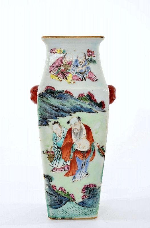 19C Chinese Famille Rose Turquoise Glazed 8 Immortal Porcelain Vase
