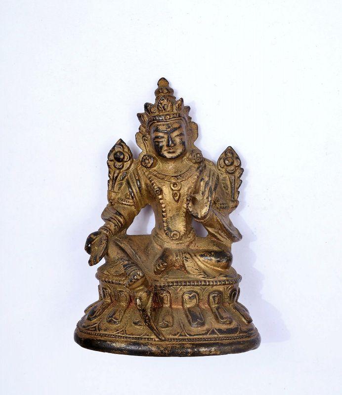 18C Chinese Gilt Lacquer Bronze Seated Miniature Buddha