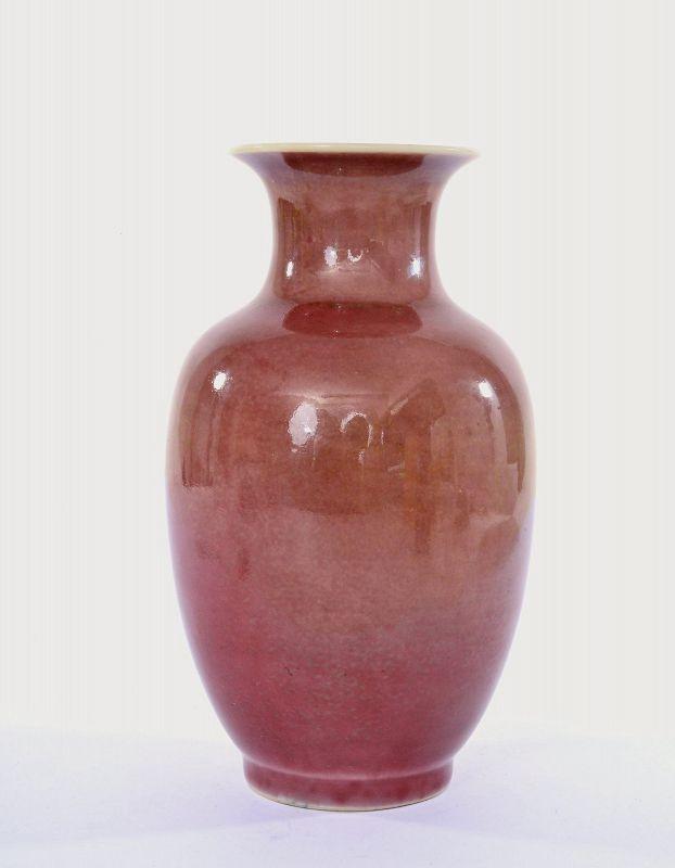 1900's Chinese Peachbloom Flambe Glaze Porcelain Vase