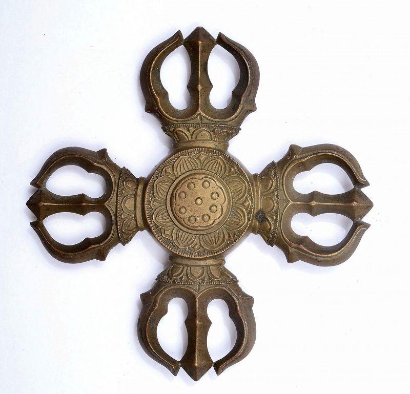 19C Japanese Bronze Sankosho Cross Dorje Vajra Buddha Monk