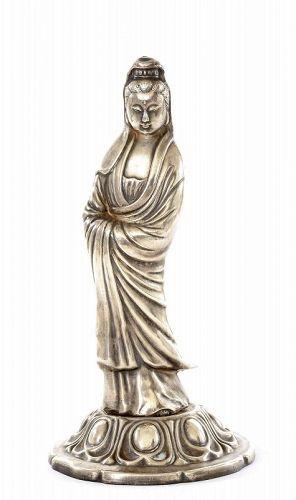 Old Chinese Solid Silver Kwan Yin Buddha Figurine