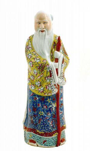 """Old Chinese Famille Rose Porcelain Shoulo God Longevity Buddha """"福建會館"""""""